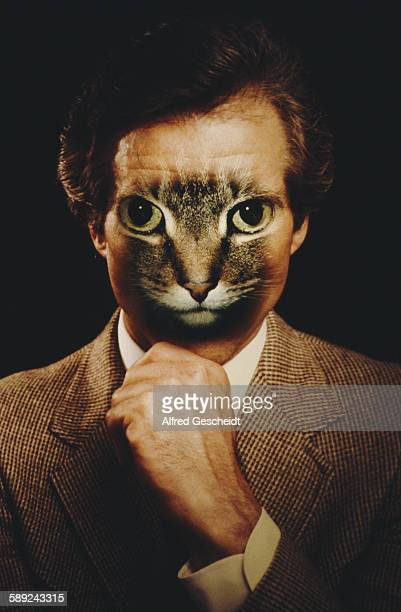 A man with a cat's face superimposed over his own 1981