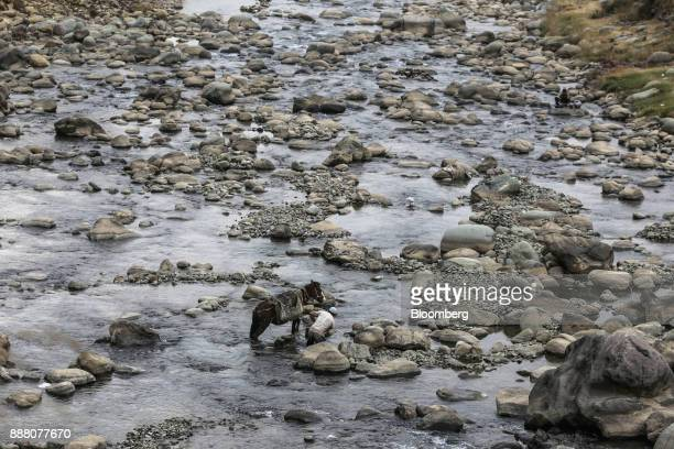 A man with a donkey fills bags of sand from a river in Rajouri district Jammu and Kashmir India on Thursday Nov 16 2017 In Prime Minister Narendra...