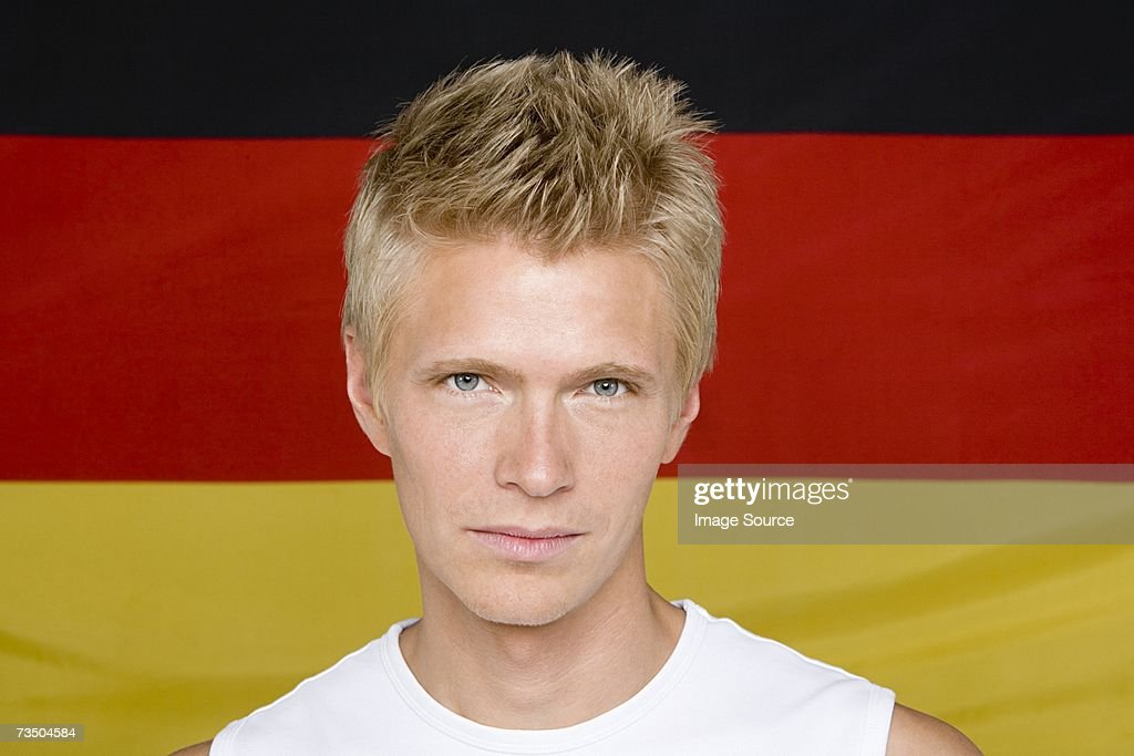 Man with a german flag : Stock Photo