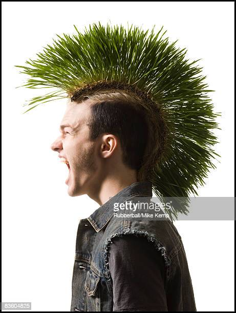 man with a green mohawk