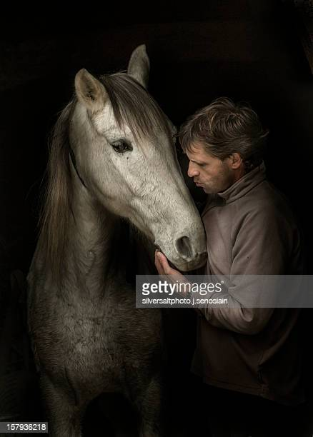 man with a horse - navarra stock pictures, royalty-free photos & images