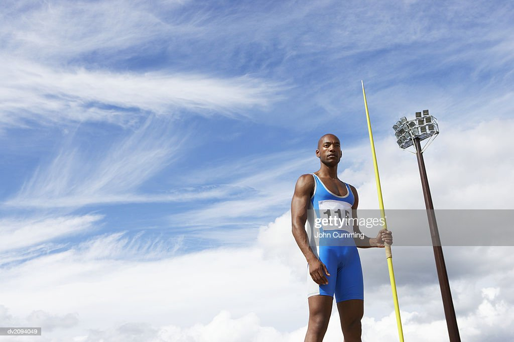 Man With a Javelin : Stock Photo