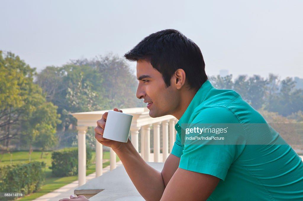 Man with a mug of tea : Stock Photo
