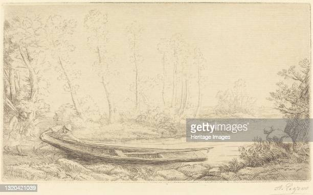 Man with a Punt, Figure to the Right . Artist Alphonse Legros.