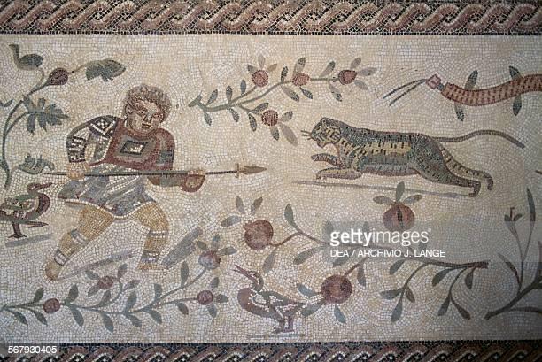 A man with a spear and a leopard mosaic Al Ain United Arab Emirates Roman civilisation Al Ain Al Ain National Museum