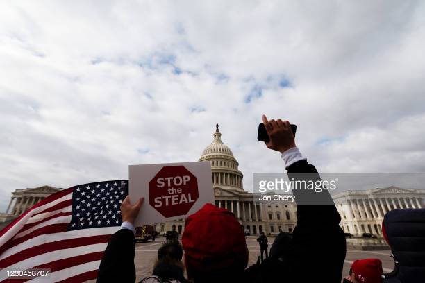 Man with a Stop the Steal sign stands in front of the U.S. Capitol Building on January 6, 2021 in Washington, DC. A pro-Trump mob stormed the Capitol...