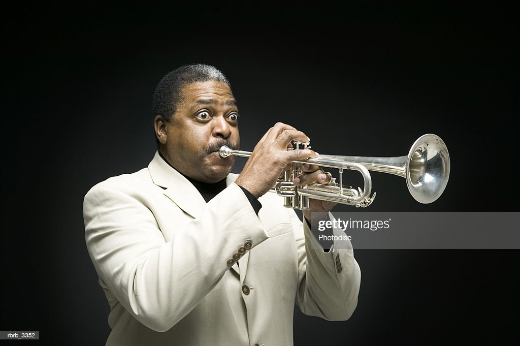 Man with a trumpet : Foto de stock