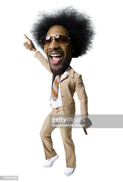 man with an afro in beige suit - funny cartoon stock photos and pictures