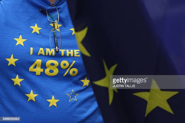 A man with an EU flag and a TShirt referring to the 48 per cent of people who voted to stay in the EU joins a March for Europe protest against the...