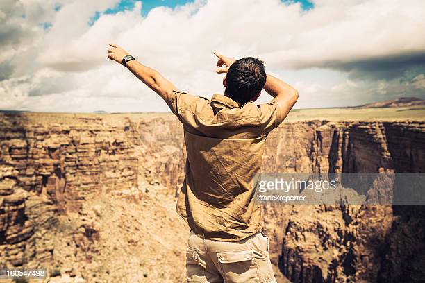 Man with arm raised gesturing on Grand Canyon - Usa