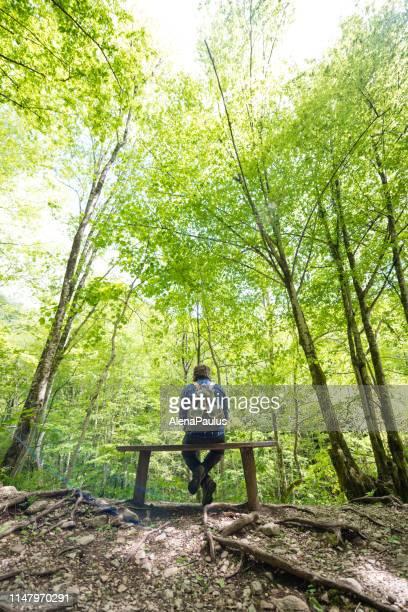 homme avec le sac à dos s'asseyant sur un banc dans la forêt des alpes juliennes, slovénie - slovénie photos et images de collection