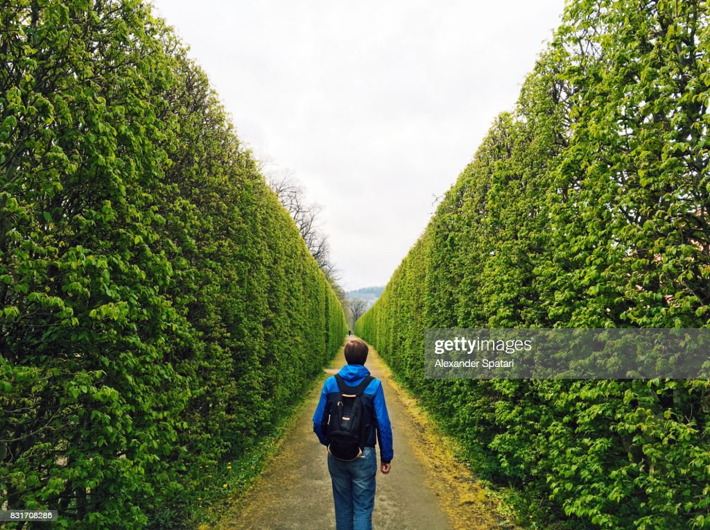 Man with backpack walking forward in a green tunnel : Stock Photo