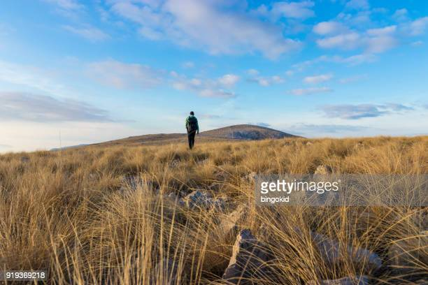 man with backpack walking in grass - prairie stock pictures, royalty-free photos & images
