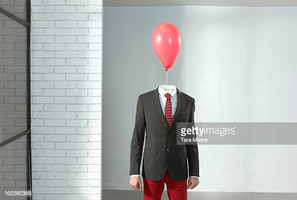 man with balloon as a head - headless man stock pictures, royalty-free photos & images