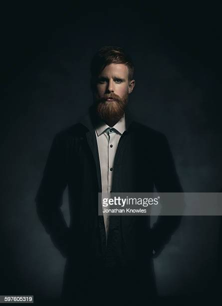 man with beard and moustache in make up - mystery stock pictures, royalty-free photos & images