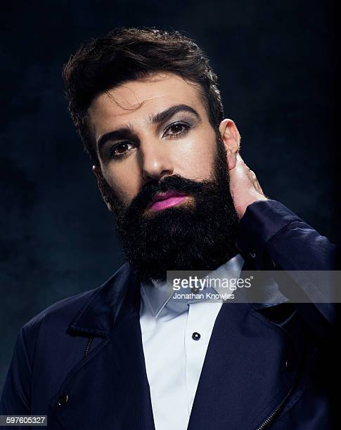 man with beard and moustache in make up, posing - make up stock pictures, royalty-free photos & images