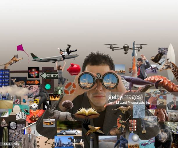 man with binoculars searching for ideas - john lund stock pictures, royalty-free photos & images