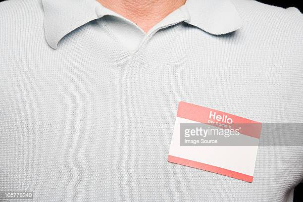 Man with blank name tag