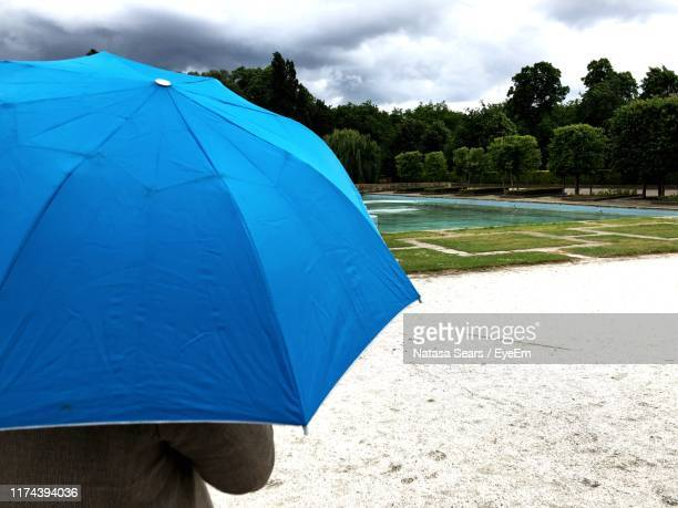 man with blue umbrella standing on field - battersea park stock pictures, royalty-free photos & images