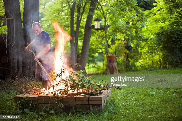 Man with bonfire