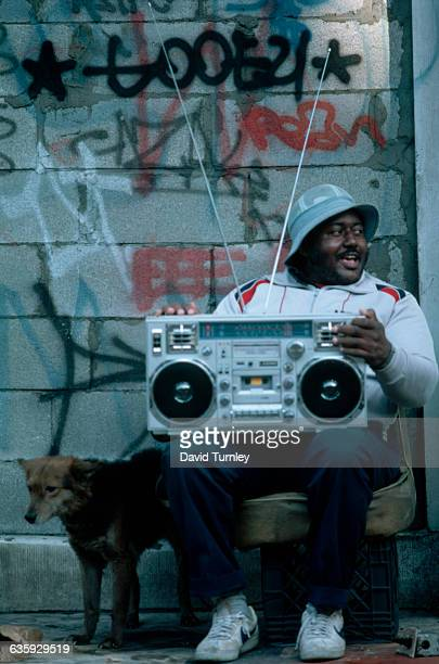 Man with Boom Box on a Harlem Street