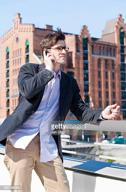 Man with cell phone in Hamburg
