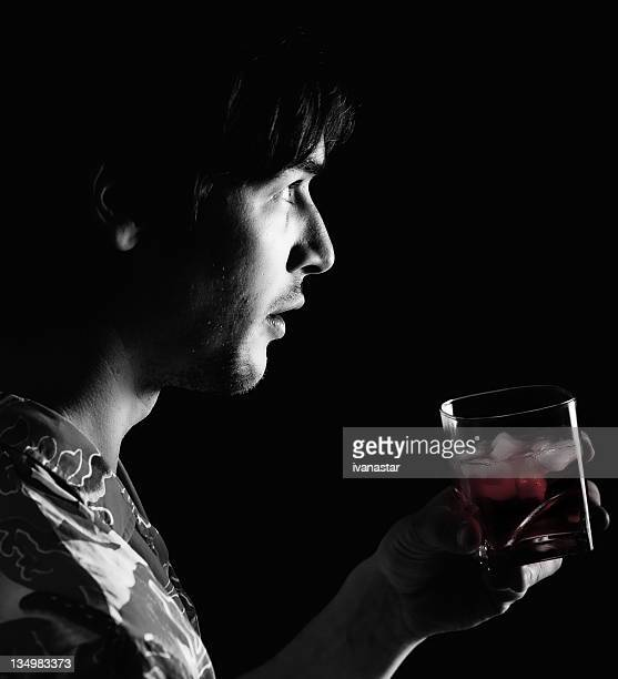 Man with Cocktail Glass, Alone in the Dark
