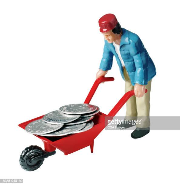 Man with Coins in Wheelbarrow