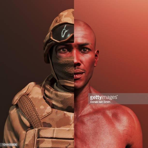 man with combat fatigues and helmet cut away to reveal his human self - digital desire fotos stock-fotos und bilder