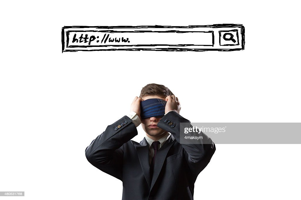 Man with covered eyes under a search bar : Stock Photo