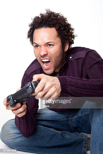 man with curly hair playing video game