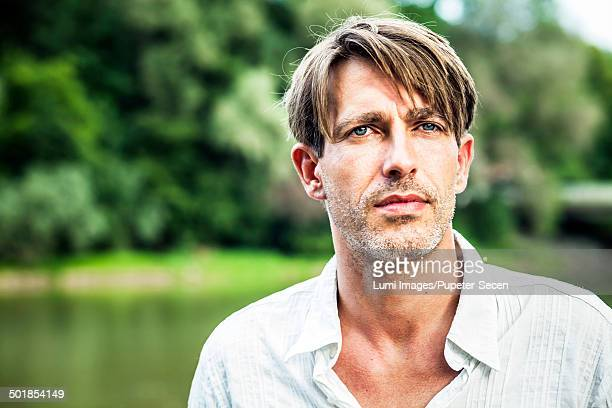 Man with designer stubble, outdoors, portrait, Bavaria, Germany