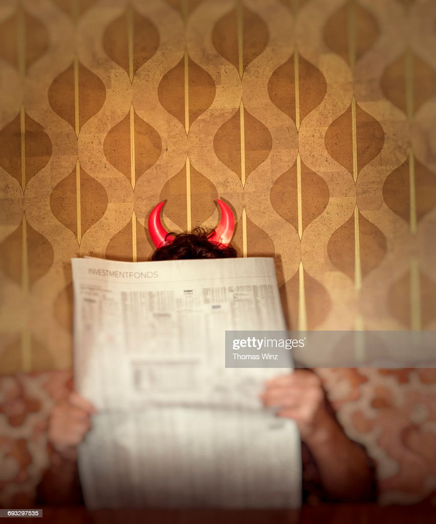 Man with Devil Horns : Stock Photo