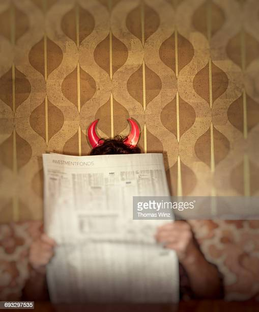 man with devil horns - devil costume stock photos and pictures