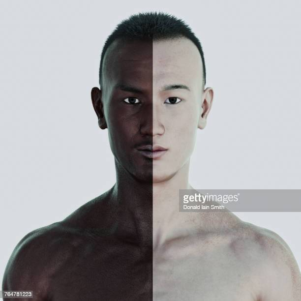 Man with different skin colors