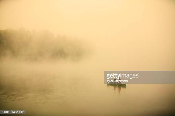 man with dog canoeing on lake in morning mist, autumn, elevated view - lake solitude (new hampshire) stock photos and pictures