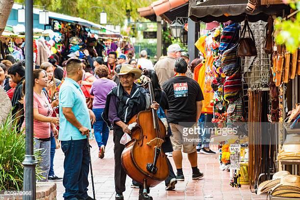 Man with double bass in El Pueblo - Los Angeles