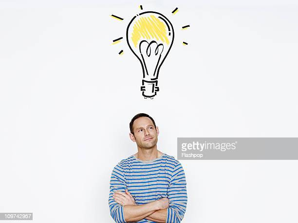 Man with drawing of lightbulb above his head