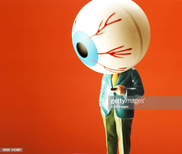 man with eyeball for a head - big eyes stock photos and pictures