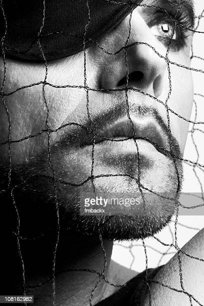 Man With Eyepatch Looking Away, Black and White