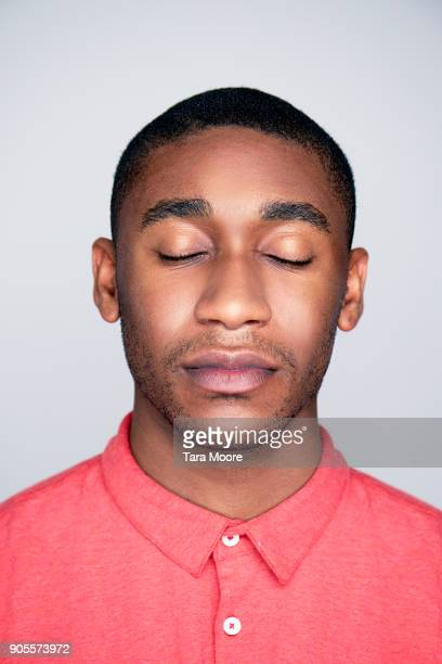 man with eyes closed - stubble stock pictures, royalty-free photos & images