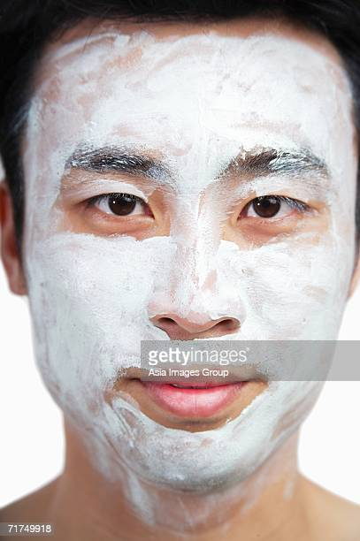 Man with face mask on
