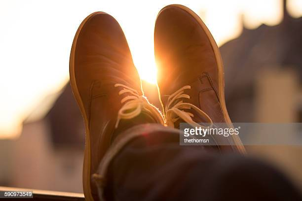 Man with feet up