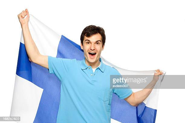 Man with Finnish flag
