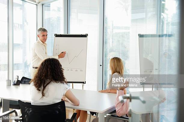 Man with flip-chart in office meeting