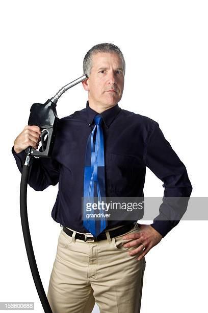 Mann mit Benzin Einstellungen Gestikulieren Selbstmord