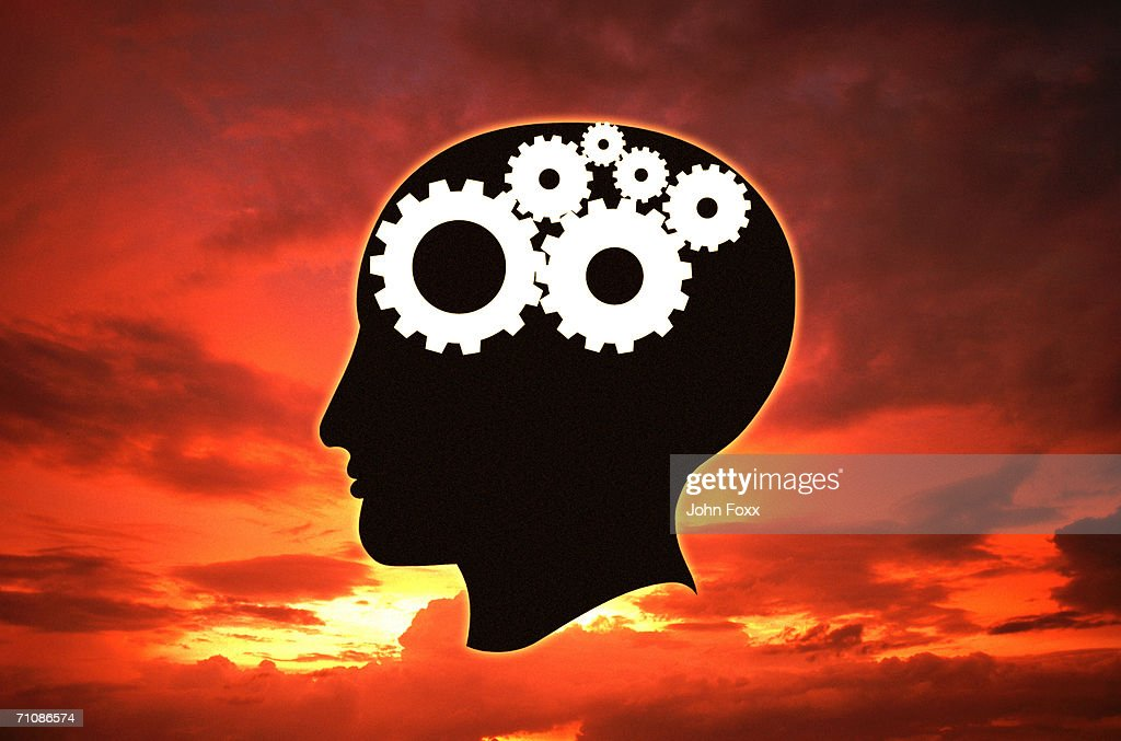 Man with gears inside head at dusk (Digital Composite) : Stock Photo