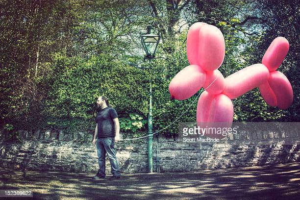 man with giant balloon dog - hergestellter gegenstand stock-fotos und bilder