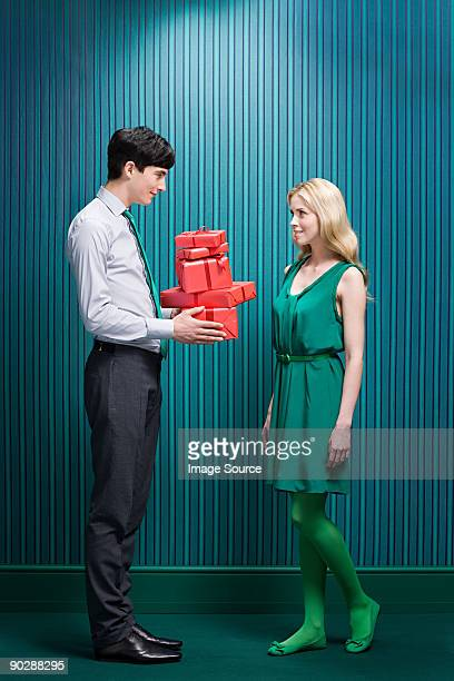 Man with gifts for girlfriend