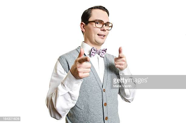 Man with glasses gesturing